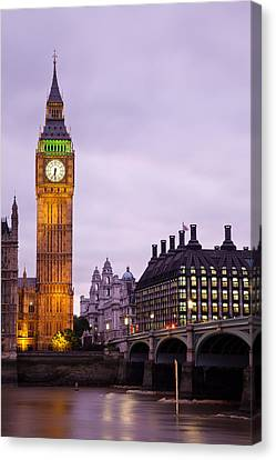 Big Ben In Twilight Canvas Print by Adam Pender