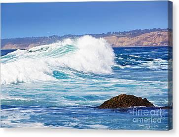 Big Blue Wave Breaks On La Jolla California's Pacific Coast Canvas Print by Susan McKenzie