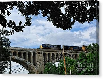Csx Train Canvas Print - Big Four Bridge by Pamela Baker