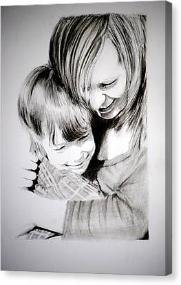 Canvas Print featuring the drawing Big Hug by Lynn Hughes