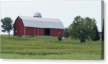 Canvas Print featuring the photograph Big Red Barn by Kristine Bogdanovich