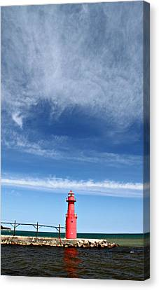 Big Sky Over Algoma Lighthouse Canvas Print by Mark J Seefeldt
