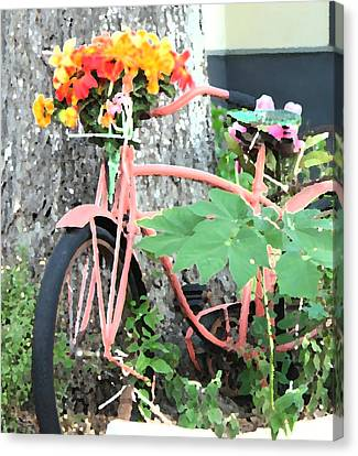 Bicycle With Flowers Canvas Print - Bike With Flowers by Amber Stubbs