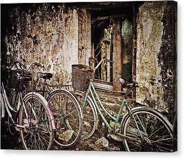 Bikes And A Window Canvas Print