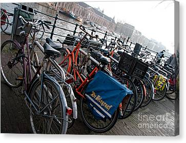 Bikes In Amsterdam Canvas Print by Carol Ailles