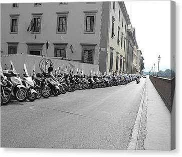 Canvas Print featuring the photograph Bikes by Laurel Best