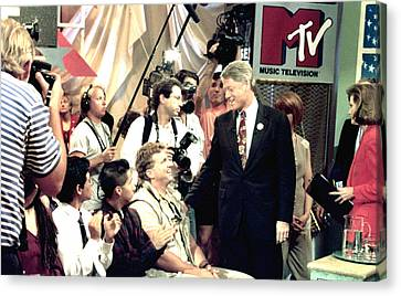 Bill Clinton Appears With Young Canvas Print by Everett