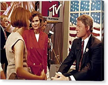 Bill Clinton, Being Interviewed Canvas Print by Everett