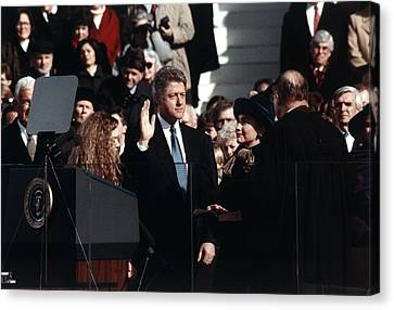 Bill Clinton Center, Taking The Oath Canvas Print by Everett
