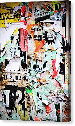 Billboard With Old Torn Posters Canvas Print by Richard Thomas