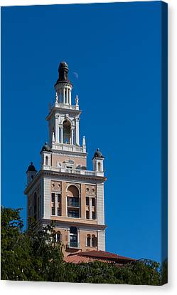 Canvas Print featuring the photograph Biltmore Hotel Tower And Moon by Ed Gleichman