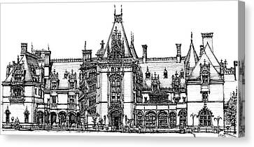 Biltmore House In Asheville Canvas Print by Building  Art