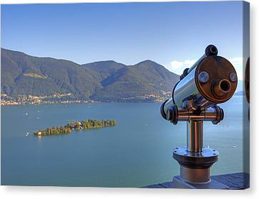 Binoculars Focused On The Isole Di Brissago Canvas Print by Joana Kruse