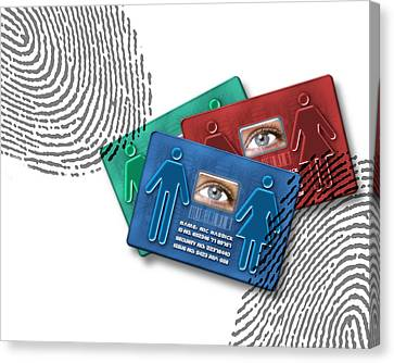 Biometric Id Cards Canvas Print by Victor Habbick Visions