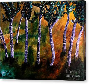 Canvas Print featuring the painting Birch Forest by Ayasha Loya