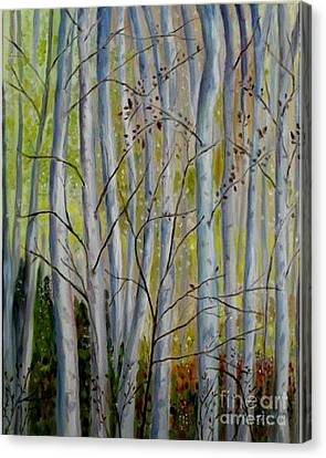 Canvas Print featuring the painting Birch Forest by Julie Brugh Riffey