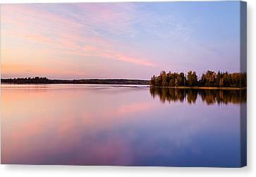 Birch Lake Sunset Canvas Print by Adam Pender