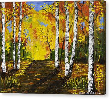 Birch Trees And Road Fall Painting Canvas Print