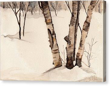 Birch Trees In The Snow Canvas Print by Barb Kirpluk