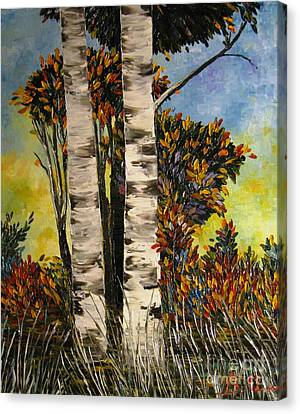 Birches For My Friend Canvas Print by AmaS Art