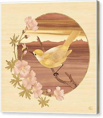 Bird Bee Wood Art Canvas Print