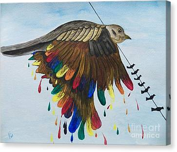 Bird On A Wire Flys Free Canvas Print by Judy Via-Wolff