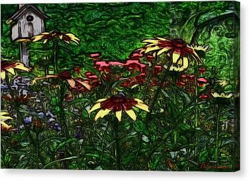 Birdhouse Garden Canvas Print by Debra     Vatalaro