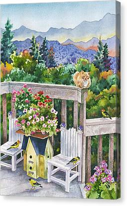Birdhouses Canvas Print by Anne Gifford