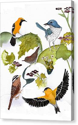 Birds In My Backyard Second In The Series Canvas Print by Alexandra  Sanders
