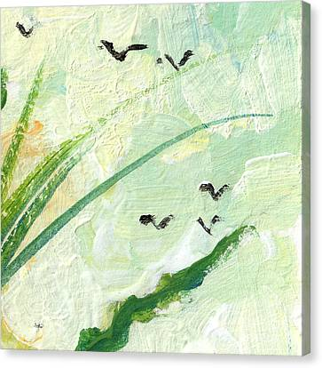 Birds Modern Abstract Painting Canvas Print by Ginette Callaway