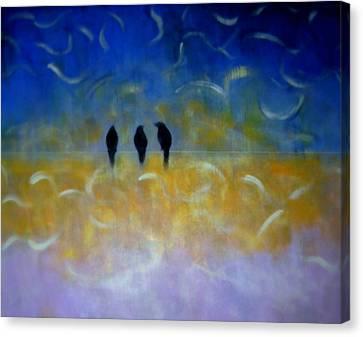 Birds On The Wire Canvas Print by Joseph Ferguson