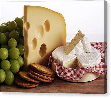 Biscuits, Grapes And Continental Cheeses Canvas Print by Simon Battensby