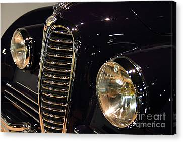 Black 1948 Delahaye . Grille View Canvas Print by Wingsdomain Art and Photography