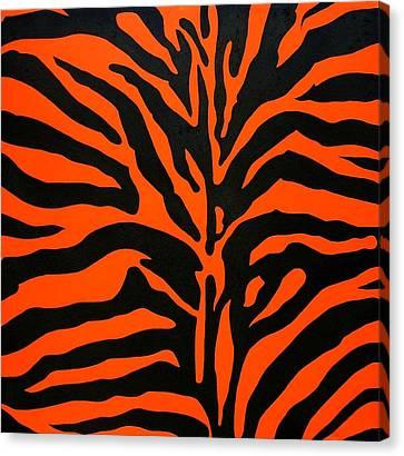 Black And Orange Zebra Canvas Print