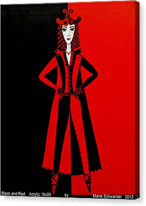 Black And Red Canvas Print by Marie Schwarzer