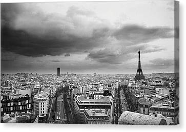 Black And White Aerial View Of An Overcast Sky Above The Eiffel Tower Canvas Print by Stockbyte