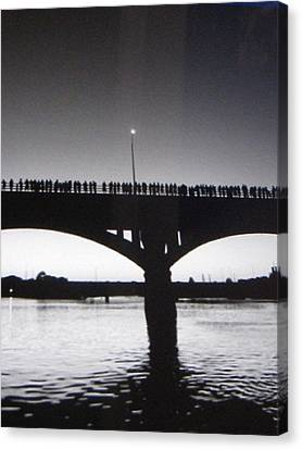 Black And White Austin Texas Bat Bridge Canvas Print by Shawn Hughes