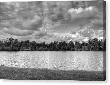 Canvas Print featuring the photograph Black And White Autumn Day by Michael Frank Jr
