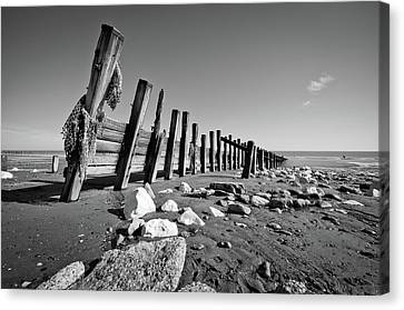 Black And White Beach With Rocks And Wood Canvas Print by Billy Richards Photography
