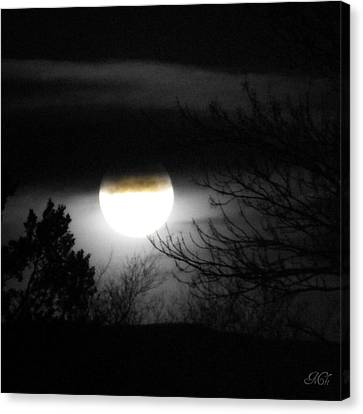Canvas Print featuring the photograph Black And White Full Moon by Michelle Frizzell-Thompson
