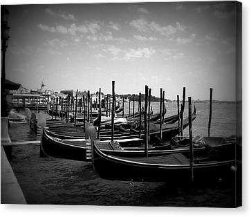 Canvas Print featuring the photograph Black And White Gondolas by Laurel Best