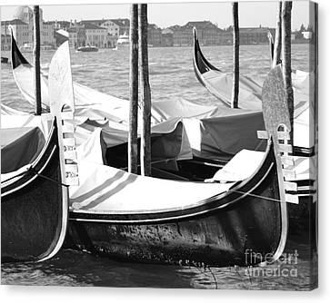Black And White Gondolas Venice Italy Canvas Print by Rebecca Margraf