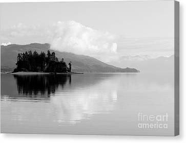 Black And White Island Near Hoonah Canvas Print by Darcy Michaelchuk