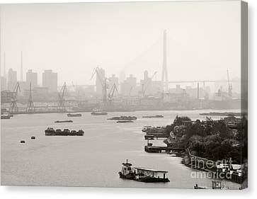 Black And White Of Cranes And River Traffic Canvas Print by Jeremy Woodhouse