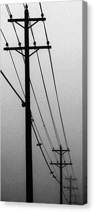 Black And White Poles In Fog Right View Canvas Print by Tony Grider