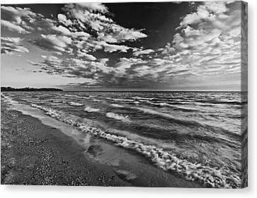 Black And White Shoreline Of Lake Canvas Print