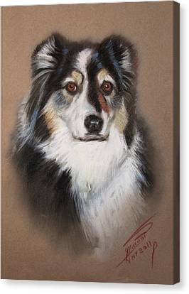 Malamute Canvas Print - Black And White by Ylli Haruni