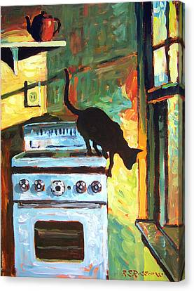 Black Cat In The Kitchen Canvas Print