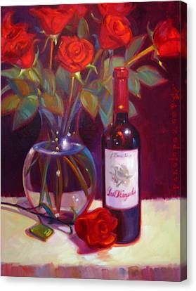 Wine Reflection Art Canvas Print - Black Cherry Bouquet by Penelope Moore