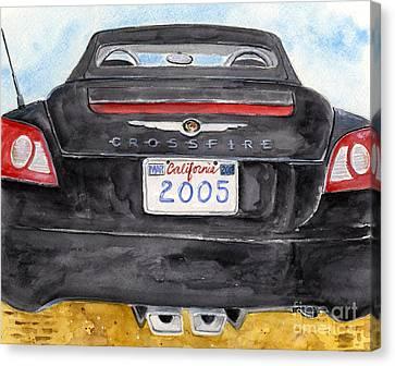 Black Crossfire Canvas Print by Sheryl Heatherly Hawkins